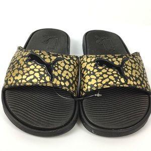 Puma Womens Sandals Slides Gold Black Metallic 5